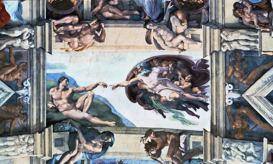 Gott trägt Bart: Michelangelo, Die Erschaffung Adams, 1508-1512. Fresko. Sixtinische Kapelle, Vatikanstadt.