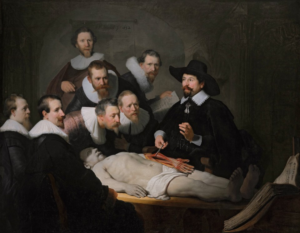 Rembrandt van Rijn, Die Anatomiestunde des Dr. Nicolaes Tulp, 1632. Öl auf Leinwand, 169,5 x 216,5 cm. Mauritshuis, Den Haag.