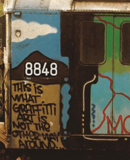 LEE Tag, 1979. Peinture aérosol sur un wagon de métro, New York. Détruit.