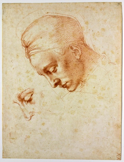 Michelangelo Buonarotti, Study for the Head of Leda, c. 1530. Red pencil on paper, 35.4 x 26.9 cm. Casa Buonarroti, Florence.