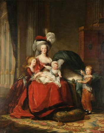Marie-Antoinette, reine de France, et ses enfants, 1787. Huile sur toile, 275,2 x 216,5 cm. Musée national des châteaux de Versailles et de Trianon, Versailles.