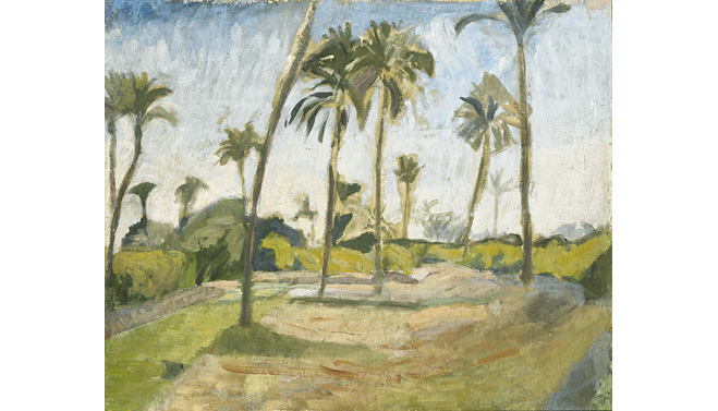 Ivan Aguéli, African Landscape, c. 1914. Oil on canvas, mounted on cardboard, 37 x 45 cm. Moderna Museet, Stockholm.
