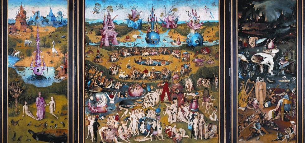 Hieronymus Bosch, Der Garten der Lüste, 1500-1505. Grisaille, Öl auf Eichentafel, Höhe (inkl. Rahmen): 205,6 cm, Breite (inkl. Rahmen): 386 cm. Museo Nacional del Prado, Madrid.