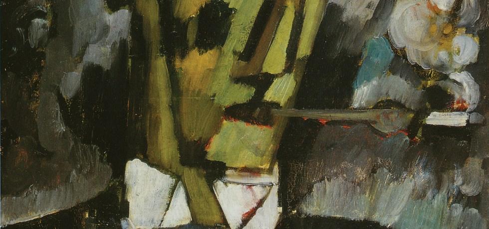 Deuil Tête Fume-cigarette, vers 1914-1915. Huile sur toile, 50 x 50 cm. Collection privée en dépôt au Museu Municipal Amadeo de Souza Cardoso, Amarante.