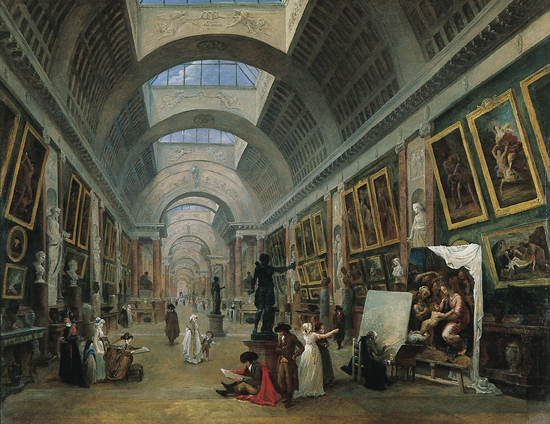 Projet d'aménagement de la Grande galerie du Louvre, vers 1789, 1796. Huile sur toile, 120×143cm. Musée du Louvre, Paris.