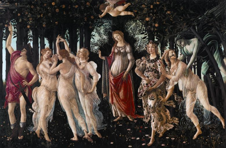 Primavera, c. 1482. Tempera on panel, 202 x 314 cm. Galleria degli Uffizi, Florence.