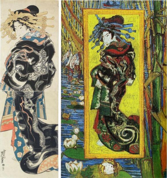 Keisai Eisen, Courtisane, vers 1830 (à gauche). Vincent Van Gogh, Courtisane d'après Eisen, 1887 (à droite).