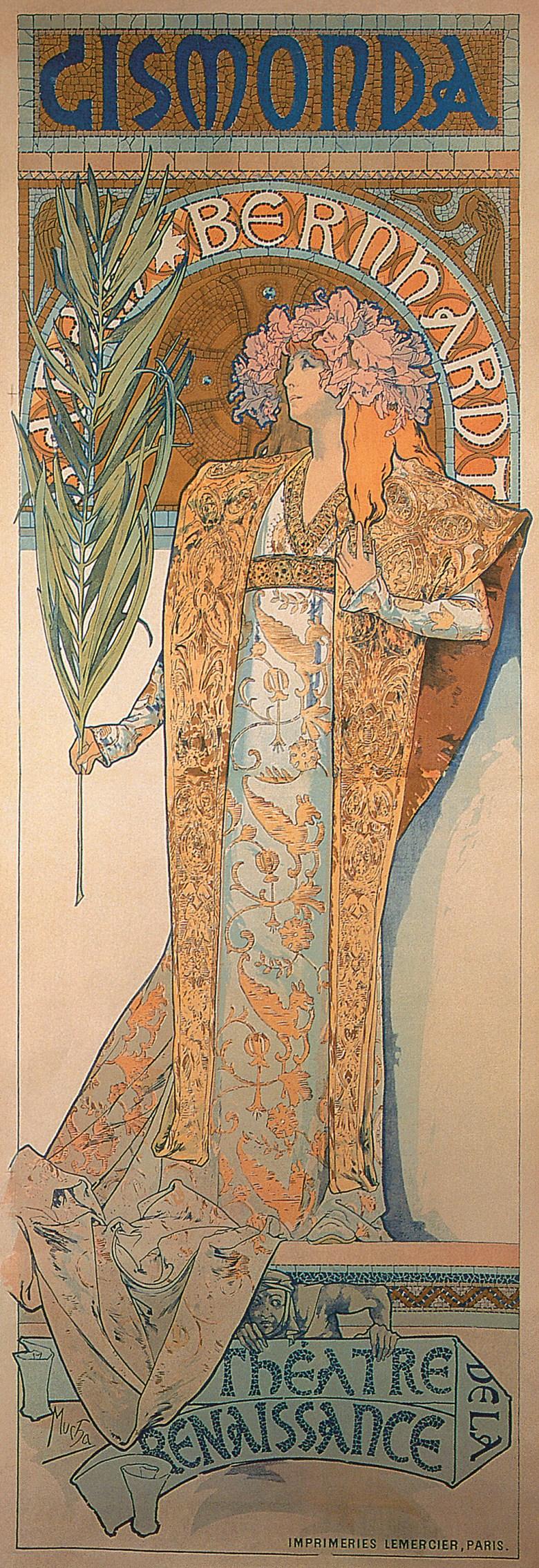 Poster for 'Gismonda', 1894. Colour lithograph, 216 x 74.2 cm. Mucha Foundation, Prague.