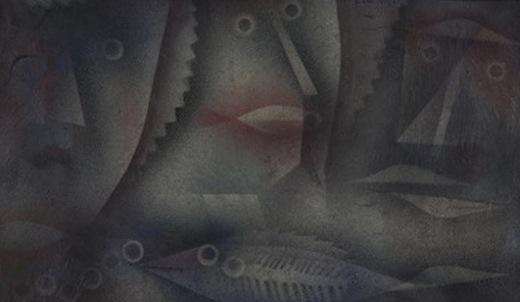 Hommes=Poissons, 1927. Huile et Tempera sur carton, 28,5×51 cm. Centre Paul Klee, Berne, Suisse.