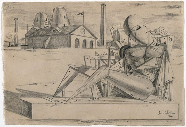 Giorgio de Chirico, Solitudine, 1917. Bleistift auf Papier, 22,4 x 32 cm. The Museum of Modern Art, New York.