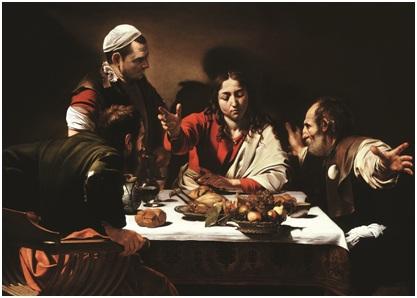 """""""欢迎回来!我们能否在这顿可爱的晚餐之后来点冰淇淋呢,JC?"""" 米开朗基罗•梅里西•达•卡拉瓦乔(Michelangelo Merisi da Caravaggio),《以马忤斯的晚餐》(Supper at Emmaus),1601年。 帆布油画、蛋彩画,141X196.2cm。 国家美术馆,伦敦。"""