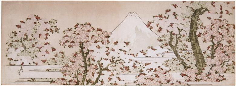 Der Traum jeder Biene: Katsushika Hokusai, Der Berg Fuji hinter blühenden Kirschbäumen, um 1800-1805. Surimono, Nishiki-e (Farbholzschnitt), 20,1 x 55,4 cm. Rijksmuseum, Amsterdam.