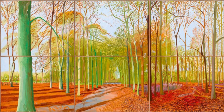 Woldgate Woods. 2006. Oil on six canvases.