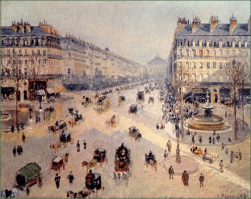 卡米耶•毕沙罗,《歌剧院大街》,1898年,帆布油画,73 x 92 cm.巴黎美术博物馆