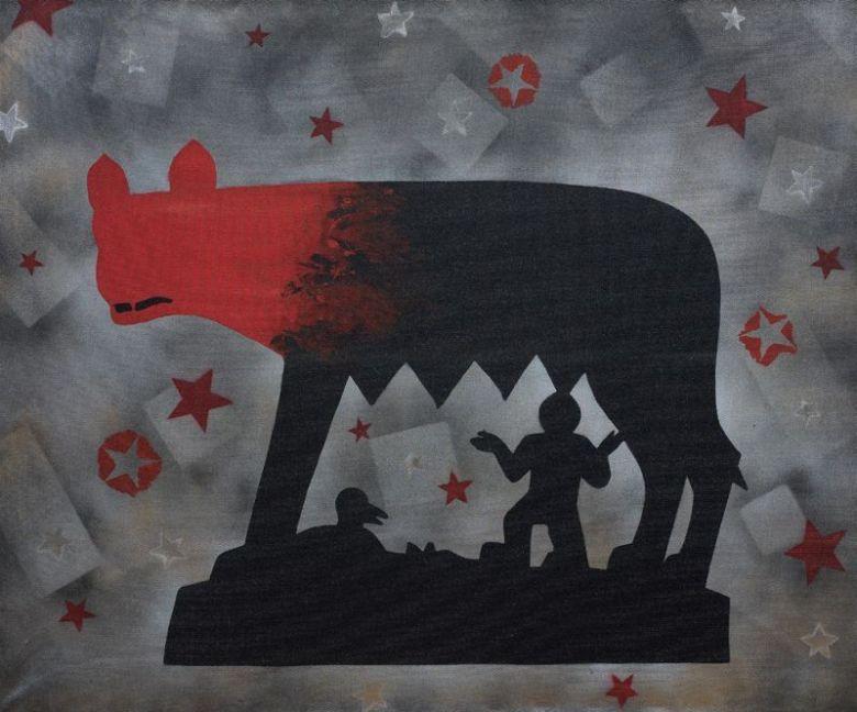 Franco Angeli, Lupa capitolina. Smalto su tela con tulle, 100x120 cm. ©Farsettiarte