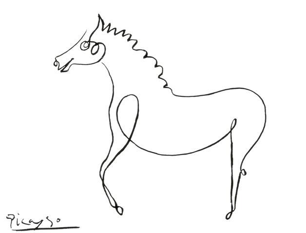 巴勃罗•毕加索(Pablo Picasso),43岁。他在一边打电话的时候随手涂鸦了这匹马。《事实,小马》,1924年(?)。钢笔纸画,21*27.2cm,艾尔米塔什博物馆(The State Hermitage Musuem),圣彼得堡。