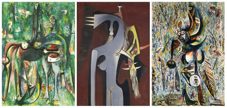 (Left) Le Sombre, Dieu Due Carrefour. 1943. Oil on canvas. 126.4 x 153 cm. (Center) Zambezia, Zambezia. 1950. Oil on canvas. 125.4 x 110.8 cm. Solomon R. Guggenheim Museum, New York Gift, Mr. Joseph Cantor, 1974. (Right) Mofumbre. 1943. Oil on canvas. 128.3 x 184.2 cm