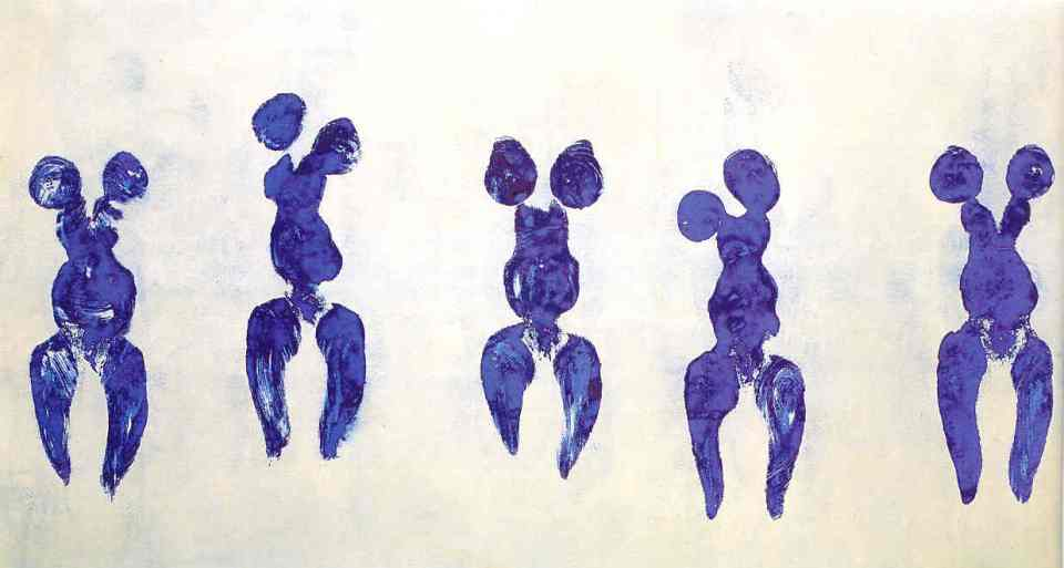Yves Klein. Anthropometry of the Blue Period (ANT 82). 1960. Pure pigment and synthetic resin on paper laid down on canvas. 156.5 × 282.5 cm.