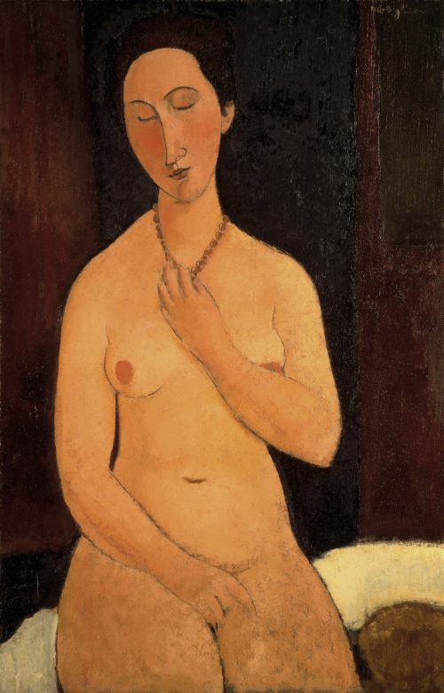 seated nude with necklace