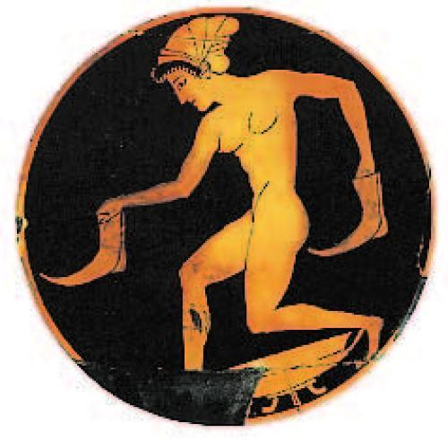 Copa de Ática con figuras en rojo, atribuida a Epicteto, alrededor de 500