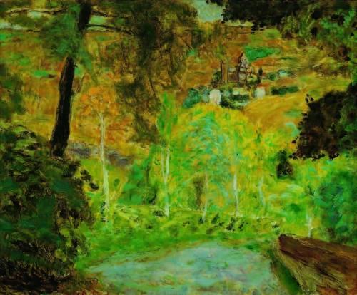 Pierre-Bonard-paintings-Sunny-Landscape-village-in-the-background