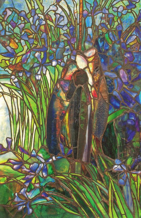 Vitrail aux iris et aux poissons, Début du XXe siècle, Tiffany, Charles De Kay