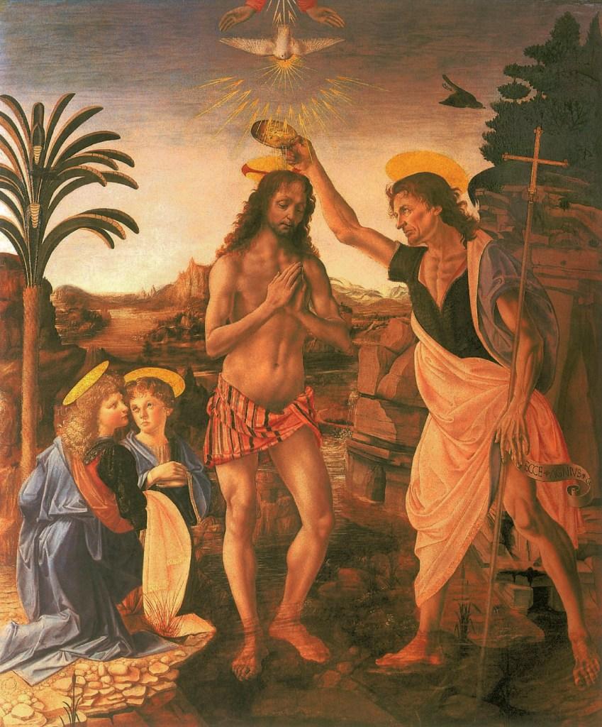 Baptême du Christ, 1470-1476, Leonardo Da Vinci - Artiste, Peintre de la Renaissance, Eugène Müntz