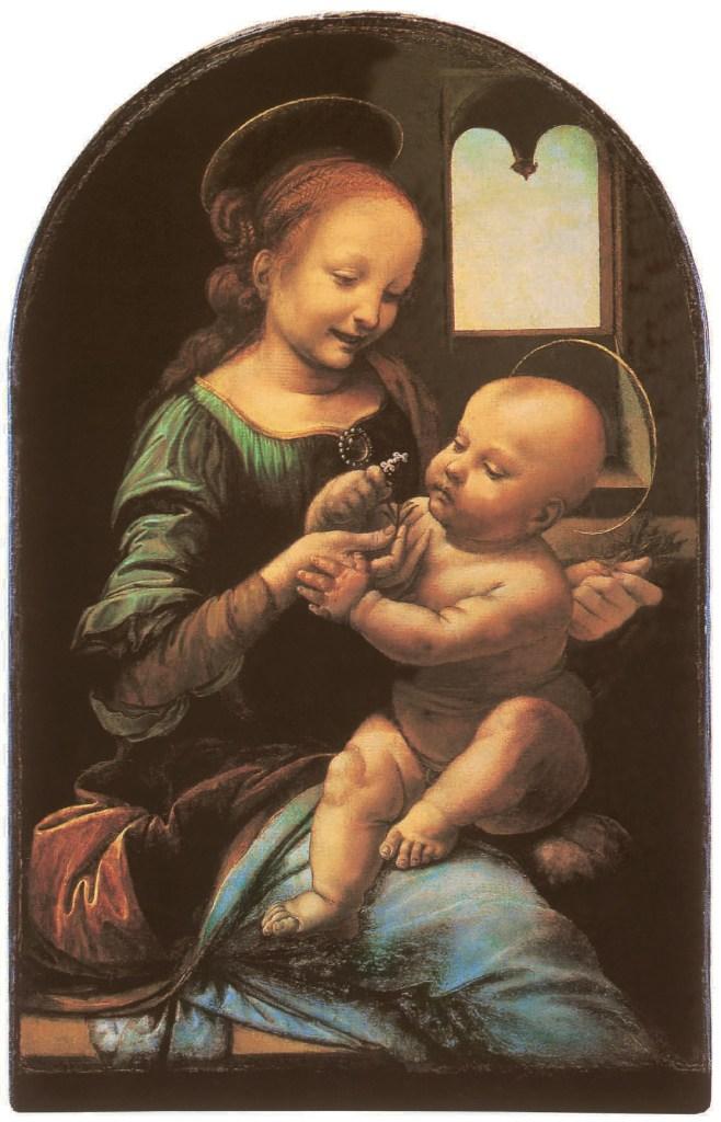 Die Madonna mit der Blume (Madonna Benois), 1475-1478, Leonardo Da Vinci - Künstler, Maler der Renaissance, Eugène Müntz