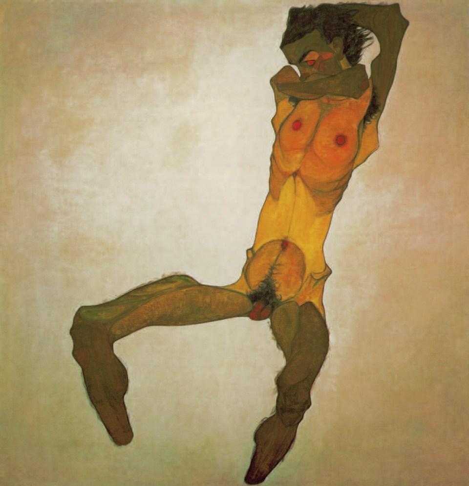 SEATED MALE NUDE (SELF-PORTRAIT), 1910, Egon Schiele