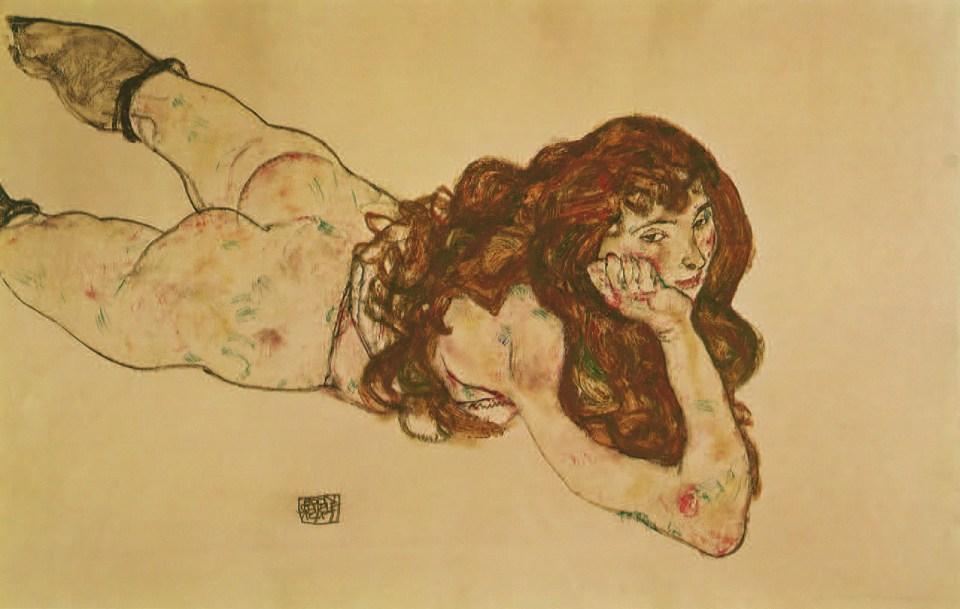 Nu féminin étendu sur le ventre, 1917, Egon Schiele
