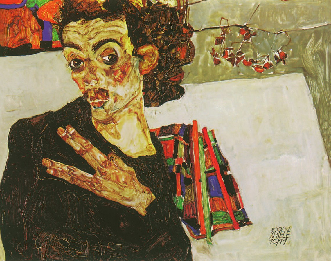 Self-Portrait with Black Clay Vase and Spread Fingers, Egon Schiele