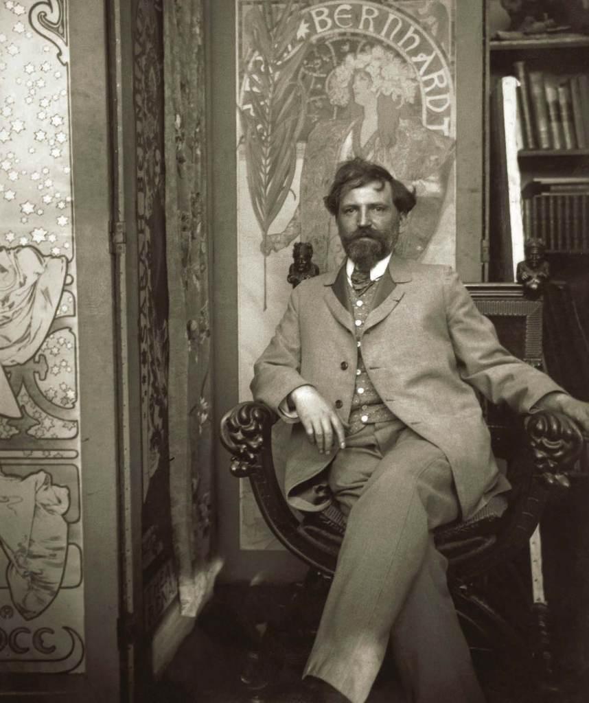 Mucha in his studio, rue du Val-de-Grâce, Paris, c. 1898