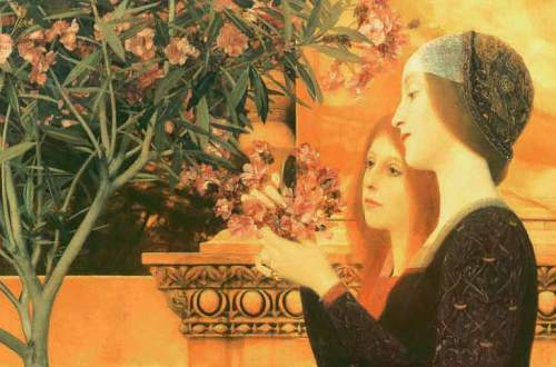 Two Girls with Oleander, 1890. Oil on canvas, 55 x 128.5 cm, Wadsworth Atheneum, Hartford (Connecticut), detail