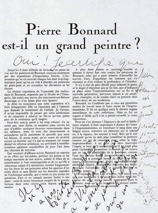 Article de Christian Zervos, Cahiers d'art, 1947, Bonnard et les Nabis, Albert Kostenevitch