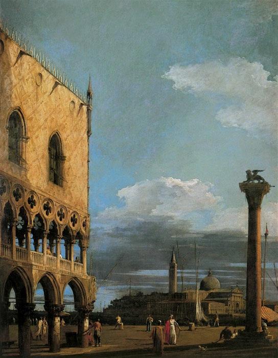 Venedig, La Piazzetta, von San Giorgio Maggiore aus gesehen, gegen 1724, Canaletto, Octave Uzanne