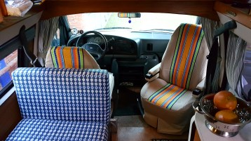New upholstery and Oaxacan seat covers (so original seats stay clean and nice!)
