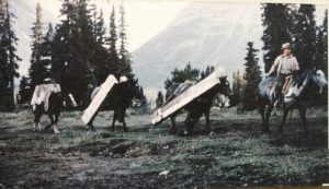 Warden Gerry Lyster packing supplies into the Red Deer Lakes Cabin of the Cyclone District in Banff National Park. Photo taken in September, 1961, by the late Donald Warner.