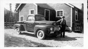 Warden Bill Black at Saskatchewan Crossing mid 1940s