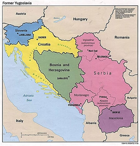 yugoslavya'nın haritası, yugoslavya'nın coğrafyası