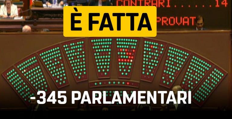 345 parlamentari in meno. Il MoVimento 5 Stelle compatto mantiene le sue promesse!