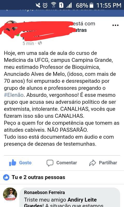 WhatsApp Image 2018 10 24 at 11.52.44 - Professor idoso é agredido por apoiadores de Haddad durante ato político na UFCG
