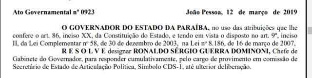 Ronaldo Guerra nomea%C3%A7%C3%A3o - Nomeação temporária: Ronaldo Guerra vai ocuparSecretaria de Estado de Articulação Política