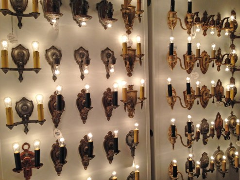 A wall of sconces