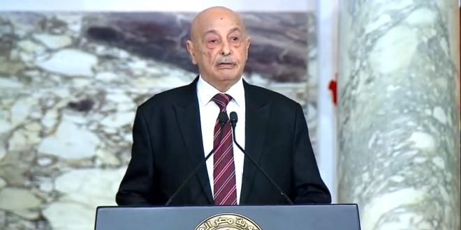 فخامة رئيس مجلس النواب يثمن مواقف فخامة الرئيس عبدالفتاح السيسي الداعمة للسلام في ليبيا