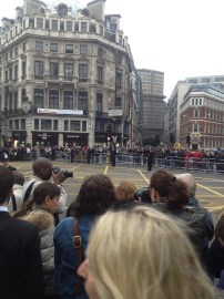 9:07 am - looking across Ludgate Circus - the protesters will stand along these barriers