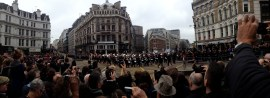9:56: Panoramic shot of the band as it crosses Ludgate Circus