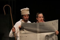 Thomas DiSalvo as Snetsky and Allison Frisch as Slovitch in Parlor Room Theater's production of Fools by Neil Simon.
