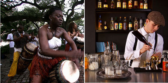 Drummers in the historical Congo Square + mixologist at the Bellocq