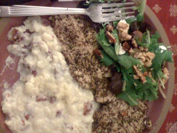 pan-seared chicken w/ goat cheese mashed potatoes