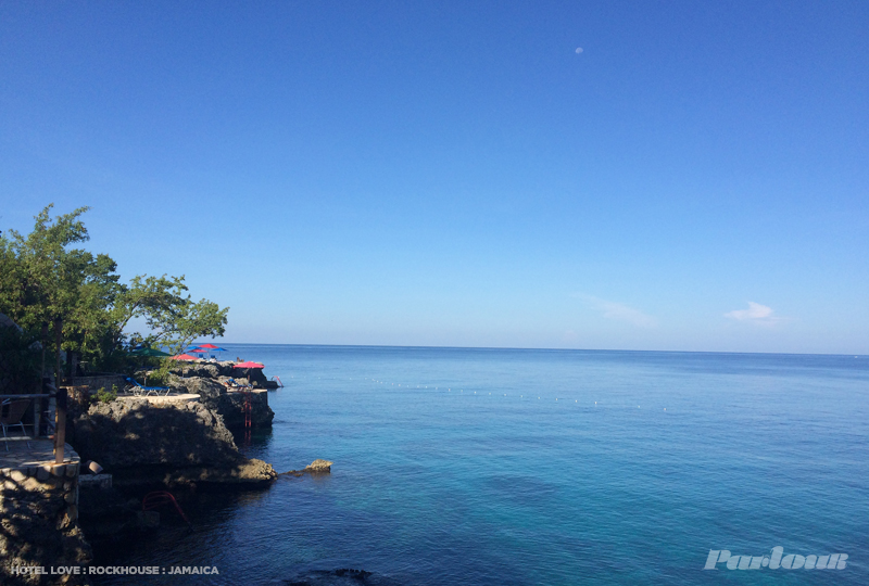 A view of the Caribbean sea and Rockhouse's various cliffside jumping/sunning decks